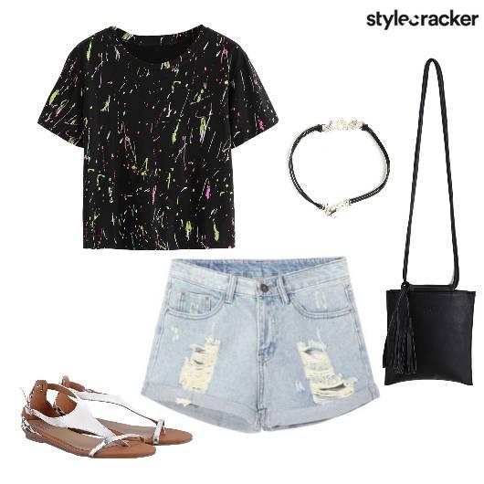 Shorts Tee Flats Casual  - StyleCracker