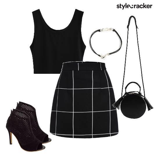 AllBlack Skirt Mesh Tassel Checks  - StyleCracker