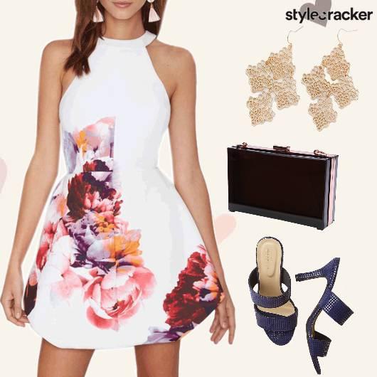 Floral BoxClutch Earrings Date  - StyleCracker