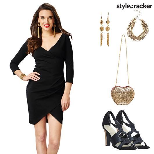 DateNight BodyconDress GoldAccessories ValentinesDay - StyleCracker