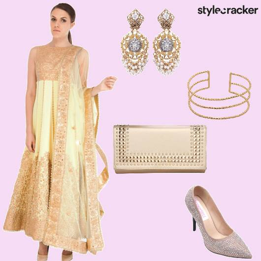 Anarkali Clutch Earrings Heels - StyleCracker