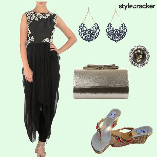 Dhoti Croptop Clutch Wedges  - StyleCracker