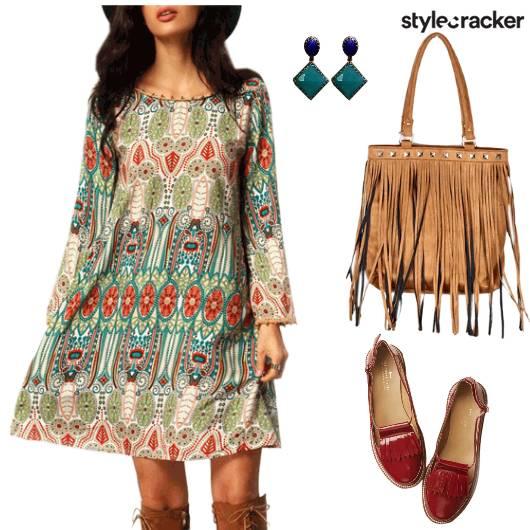 Dress Boho Loafers Fringebag Earrings - StyleCracker