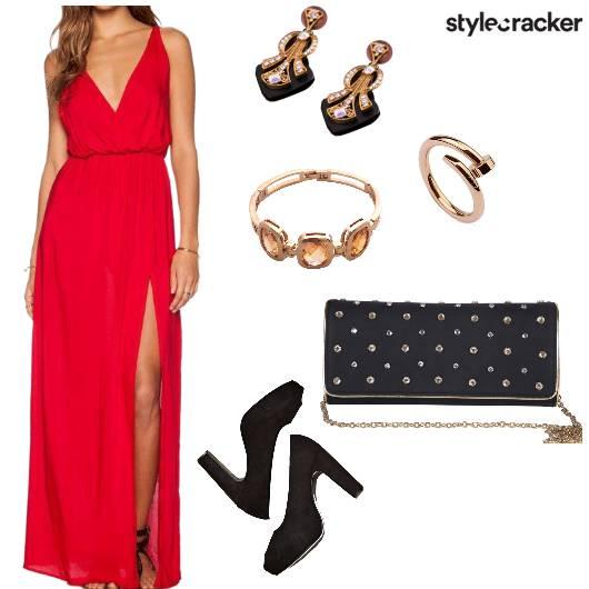 VNeck Slit Dress Night Party  - StyleCracker