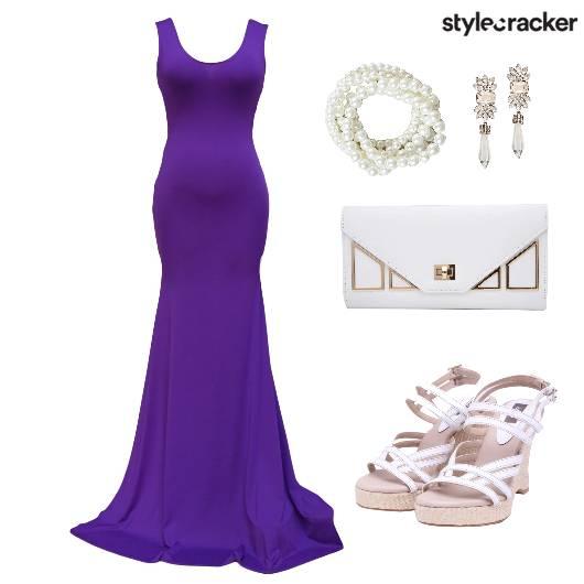Dress Gown Maxi Shoes Clutch  - StyleCracker