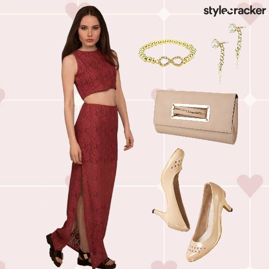 ValentinesDay DinnerDate CropTop Skirt Shoes - StyleCracker