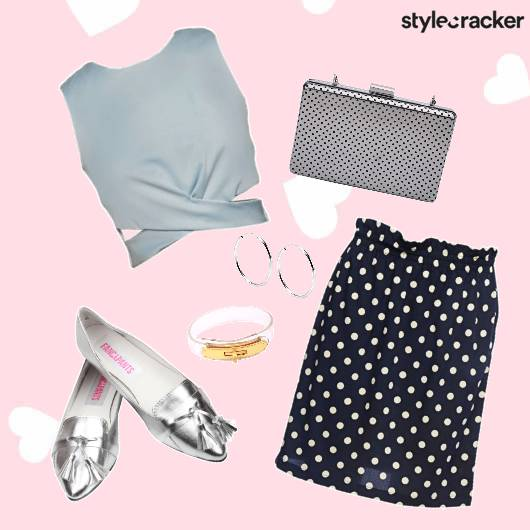 ValentinesDay LunchDate Skirt Clutch Shoes - StyleCracker