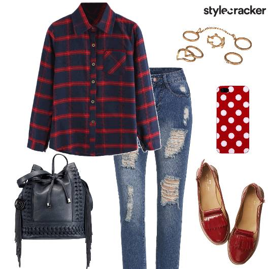 Casual College PlaidShirt RippedJeans - StyleCracker