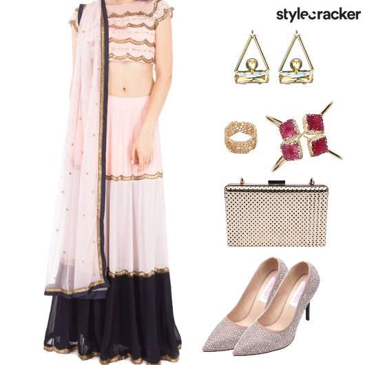 EthnicIndian Lehenga ContrastColours - StyleCracker