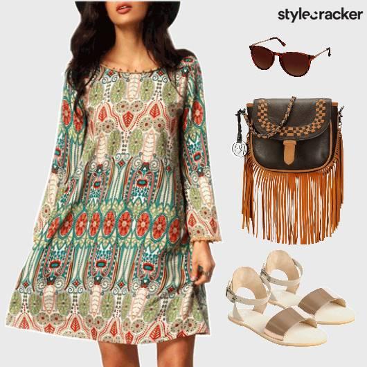 Casual Printed Dress FullSleeves - StyleCracker