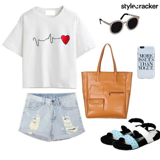Tshirt Shorts Flats Handbag Casual - StyleCracker
