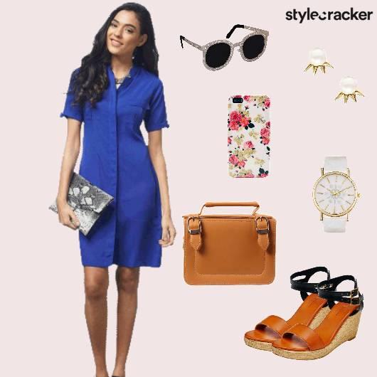 Shirtdress Tanwedges Sunglasses Casual - StyleCracker