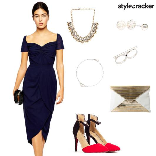 Dress Sweetheartneckline heels Clutch Party - StyleCracker