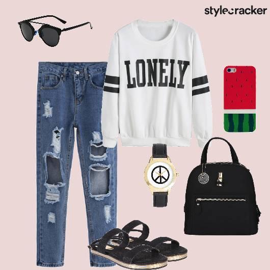 Distressedjeans Sweatshirt Backpack Casual - StyleCracker