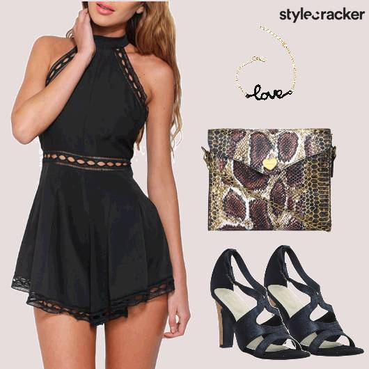 Black Party Snakeskin Clutch  - StyleCracker