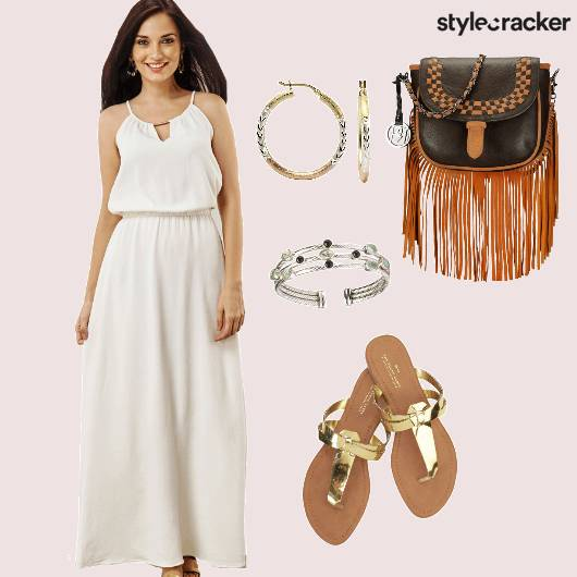 White Dress Gold Flats Fringe Bag - StyleCracker