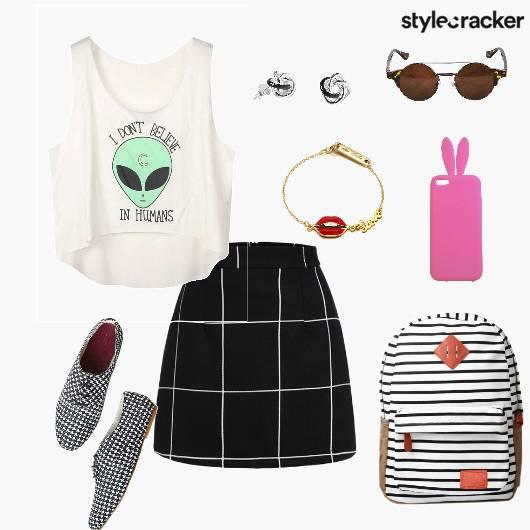 Alineskirt Croptop Sneakers Casual college - StyleCracker