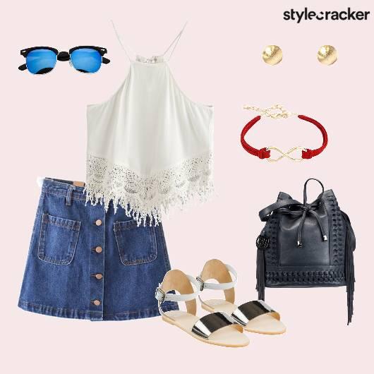 Top Denimskirt Bucketbag Flat casual - StyleCracker