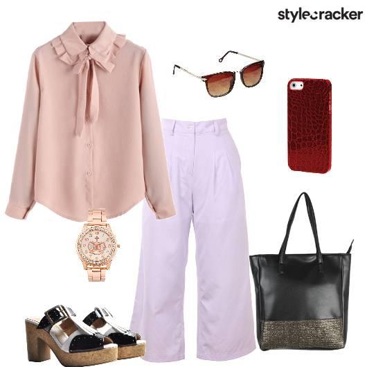 Flaredpants Top Blockheels Bag  - StyleCracker