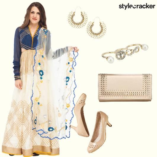 Anarkali Cutout Dupatta Heels Clutch - StyleCracker