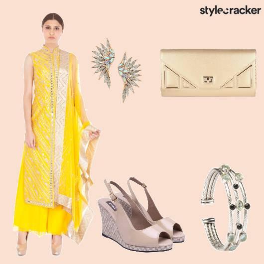 Wedges Clutch Anarkali Cuff - StyleCracker