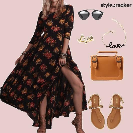 maxidress Floral Flats Slingbag - StyleCracker