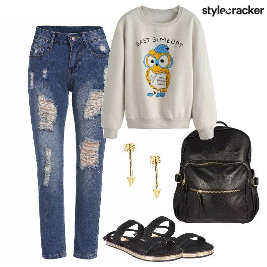 Ripped Jeans Sweatshirt Backpack  - StyleCracker