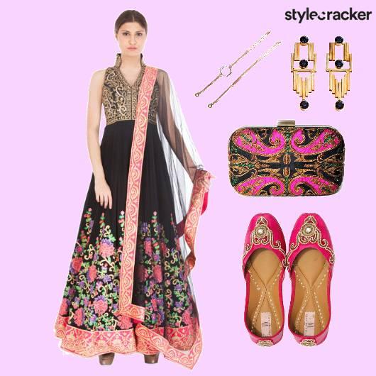 Indian Anarkali Embroidery Wedding Festive - StyleCracker