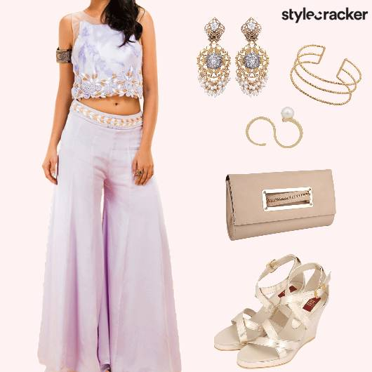 Cocktail EmbroideredCroptop PalazzoPants  - StyleCracker