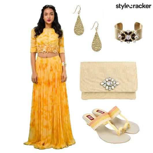 Choli Sharara Earrings Cuff Chappals - StyleCracker
