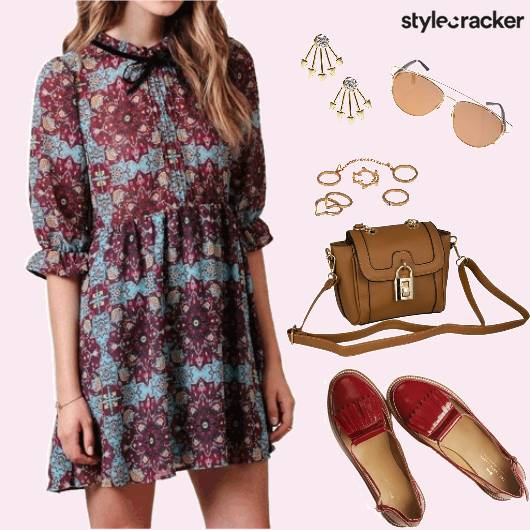 Casual Day PrintedDress CrossbodyBag Brogues  - StyleCracker