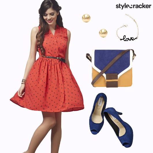Red Flare Dress Brunch Date - StyleCracker