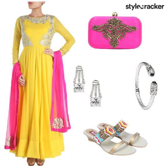 Anarkali Earrings Bangle Clutch Flats - StyleCracker