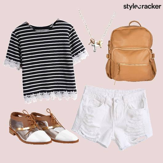 Striped Tee Ripped Shorts College Casuals - StyleCracker