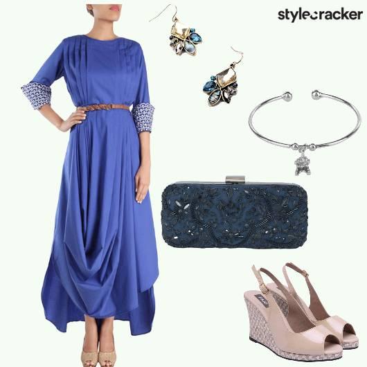 Gown Cowl Clutch Bangle Wedges - StyleCracker