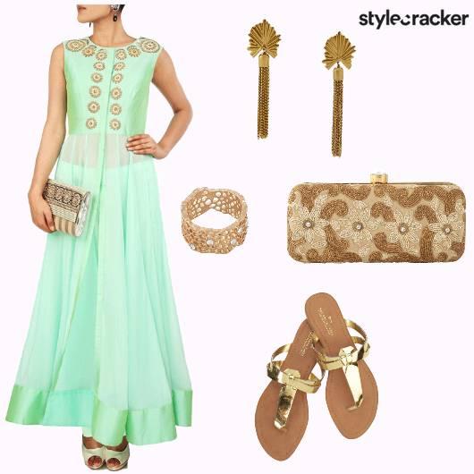 Anarkali Earrings Ring Clutch Flats - StyleCracker