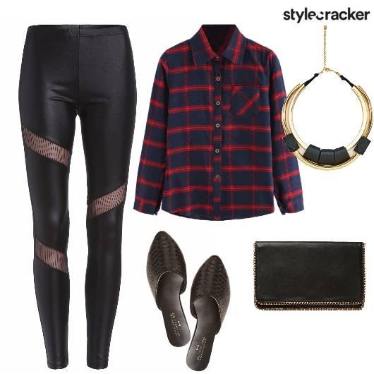 MidWeekLunch PlaidShirt Mules - StyleCracker