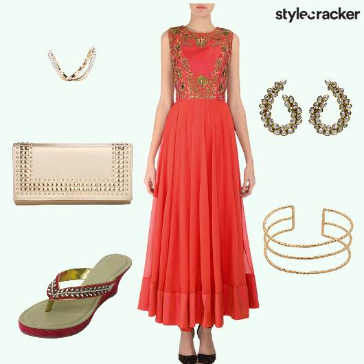 Anarkali Heels Clutch Ring Earrings - StyleCracker