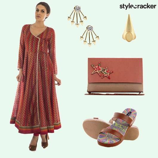 Ring Earring Sling Anarkali Wraparound - StyleCracker