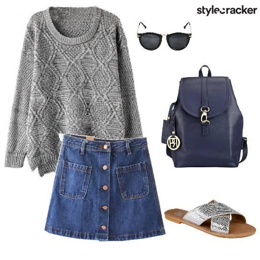 Knit Denim Casual Streetstyle - StyleCracker