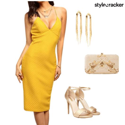 Bodycon Mustard Party Nightout - StyleCracker