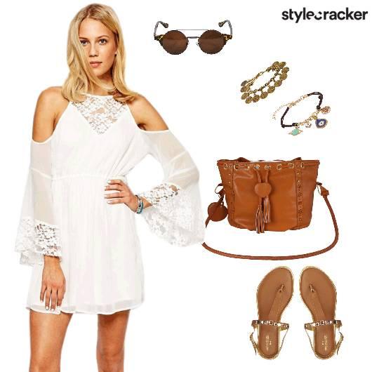 Boho Coldshoulder White Dress - StyleCracker
