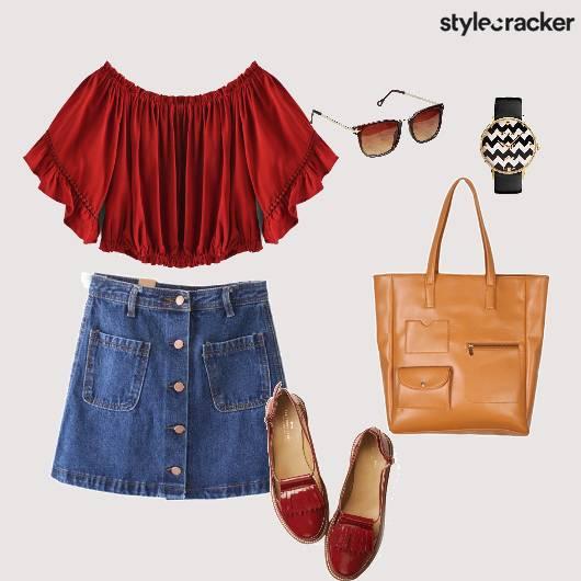 Offshouldertop Denimskirt Handbag  - StyleCracker