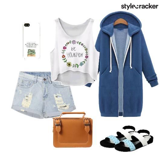 Croptop Shorts Hoodie Flats Casual - StyleCracker