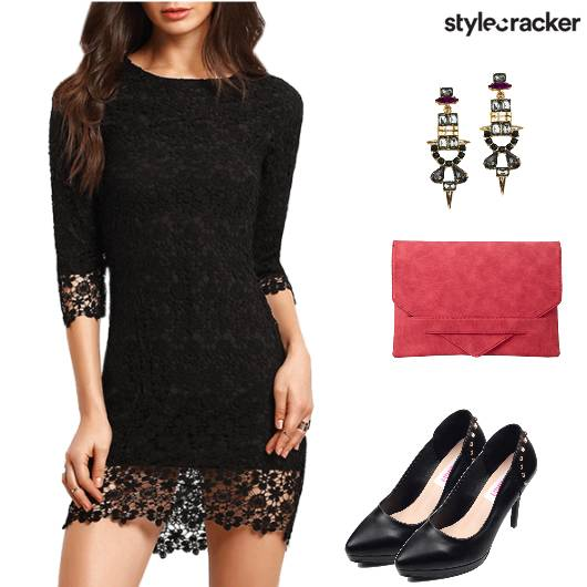 Night Party LaceDress ContrastClutch - StyleCracker
