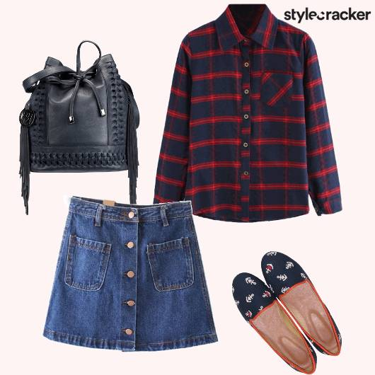 Casual PlaidShirt DenimSkirt - StyleCracker