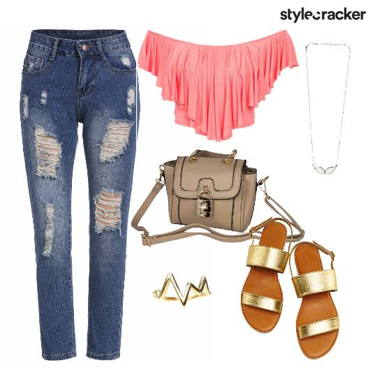 Offshoulder Crop Ripped Jeans Goldenflats Casual - StyleCracker