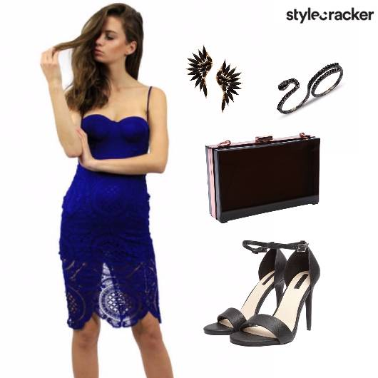 Blue Lace Dress Party Night  - StyleCracker