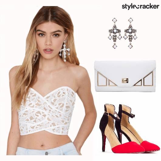 Crop White Party Redpumps Crossearrings  - StyleCracker