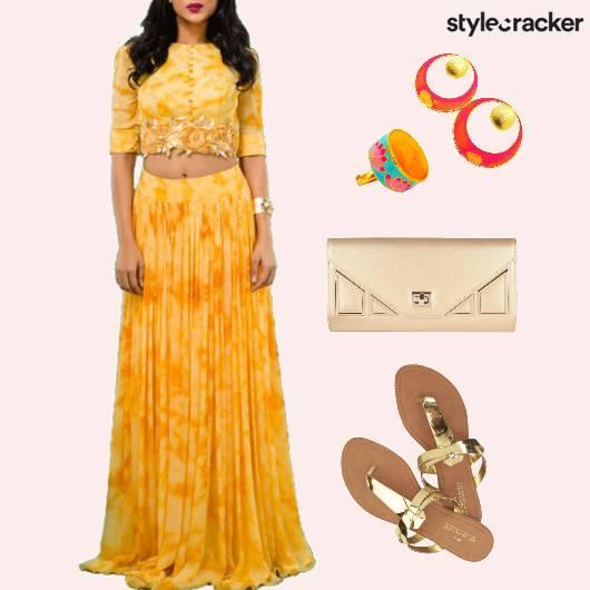 EthnicIndian EmbroideredCroptop TieDyeSkirt - StyleCracker